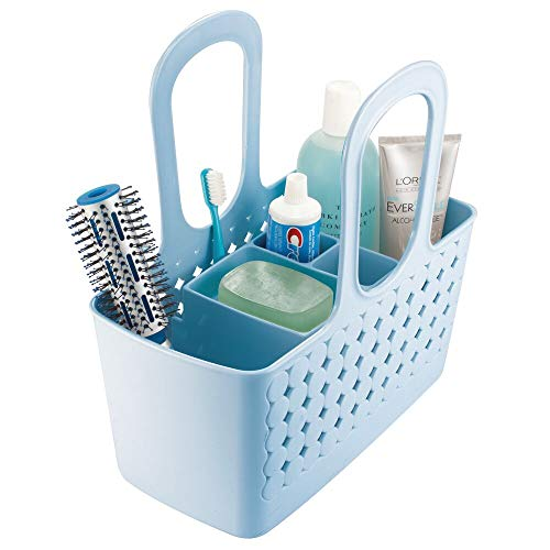 mDesign Plastic Bathroom Shower Tote Small Divided College Dorm Shower Caddy for Shampoo, Conditioner, Soap, Cosmetics, Beauty Products, Light Blue