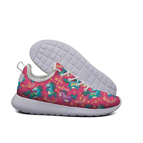 Red Cute Star Pink Unicorn White Ladies Sneakers for Women Slip on Wear-Resistant Best Running Shoes