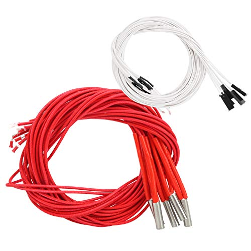 WanRomJun Red 3D Printer Single Electric Heater With Termimal Heating Tube 6x20mm/0.2x0.9in Accessory Stainless Steel