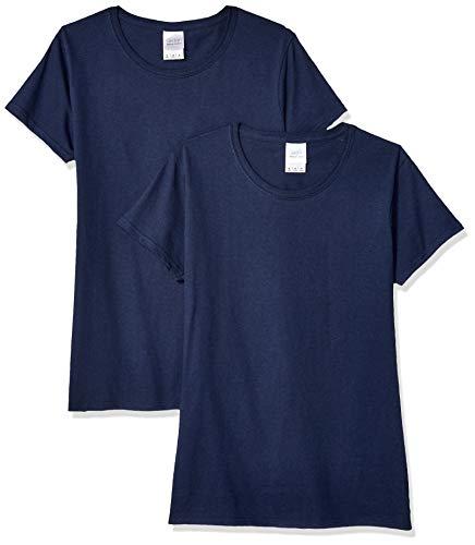 Gildan Women's Heavy Cotton Adult T-Shirt, 2-Pack, Navy, Medium