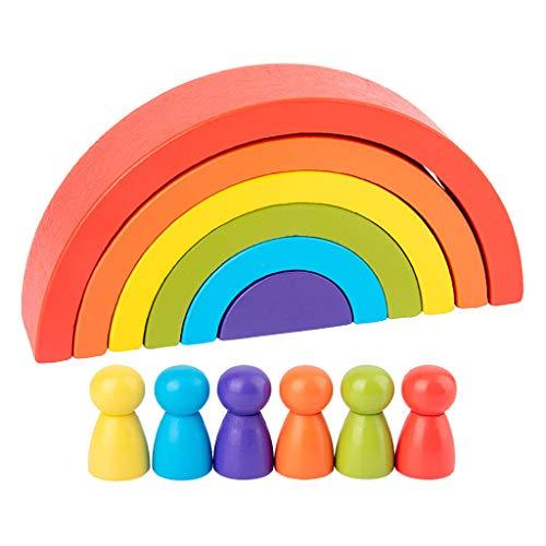 Amagogo Confezione da 12 Plance Arcobaleno in Legno da Costruzione per Bambini