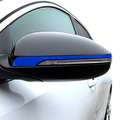 P057 Seitenstreifen Spiegel | Auto | Spiegelaufkleber | Aufkleber | Streifen | Oracal 751C (Brillantblau, Variante 2)