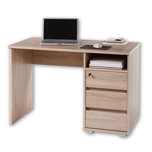 PRIMUS 1 Schreibtisch mit Schubladen, Sonoma Eiche Optik - Bürotisch Computertisch fürs Homeoffice mit Stauraum und offenem Ablagefach - 110 x 75 x 65 cm (B/H/T)