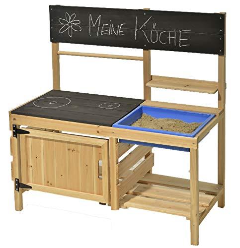 GASPO Matschküche mit Matschwanne Merida Kinderküche aus Holz, B 95 x T 43 x H 98 cm