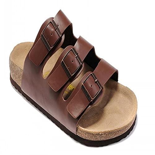 COQUI Slippers Mujer,Sandalias de Verano Zapatos de Madera Blanda Plana Zapatos de Playa para Hombres de Tres hileras Moda Casual sintonización en frío Zapatos de Mujer-marrón_43