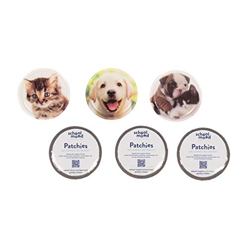 SCHOOL-MOOD Patchy-Set - 6-teilig - Klett-Patchies für Schulranzen und Zubehör (Hund und Katze)