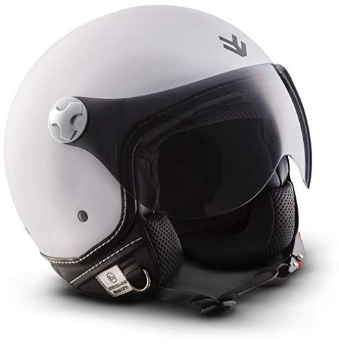 "ARMOR Helmets® AV-84 ""Matt White"" · Jet-Helm · Motorrad-Helm Roller-Helm Scooter-Helm Moped Mofa-Helm Chopper Retro Vespa Vintage Pilot Biker · ECE 22.05 Visier Schnellverschluss Tasche M (57-58cm)"