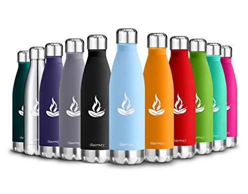 BaomayVakuum Isolierte Edelstahl Trinkflasche - 500ml - Ideale Thermosflasche für Kinder, Kleinkinder, Schule, Kindergarten, Sport, Outdoor, Fahrrad, Fitness, Camping