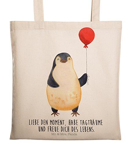 Mr. & Mrs. Panda Stofftasche, Tasche, Tragetasche Pinguin Luftballon mit Spruch - Farbe Transparent