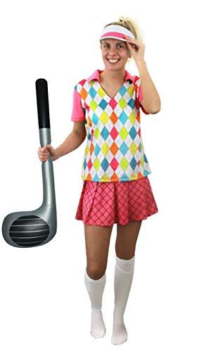 I LOVE FANCY DRESS LTD Frauen Golf KOSTÜM VERKLEIDUNG=4TEILIG -Oberteil +Rock+Kappe+AUFBLASBARER Golf SCHLÄGER=100% Polyester= SEXY Golfer Frau=OHNE KNIESTRÜMPFE= Fasching Karneval=MEDIUM