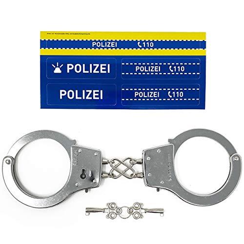 Polizei Handschellen Kinder aus Metall - Zu Karneval oder für das Polizeiset Kostüm | Für Rollenspiele mit Schlüssel, Sicherheitsschloss, Polizei Sticker | Stabiles Spielzeug auch für Erwachsene