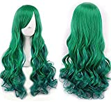netgo Women's Green Wig Long Curly Hair Heat Resistant Fiber Wigs Harajuku Lolita Style for Cosplay Halloween Party