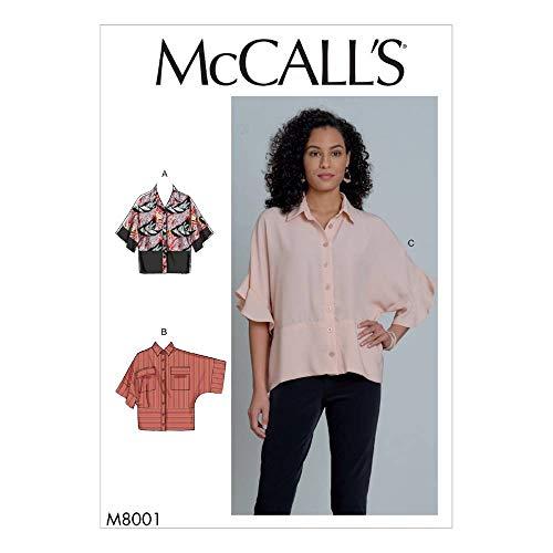 McCall's Schnittmuster für Damenbluse, lockere Passform, mit Knopf, M8001ZZ, Größen 44-54