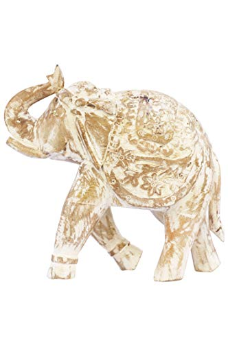 Tuindecoratieve figuren olifant wit 31cm groot van hout | XL vintage decoratieve figuren als tuindecoratie | Decoratieve figuur als tafeldecoratie op de gedekte tafel | Dierfiguren als kunstfiguren op het balkon of terras