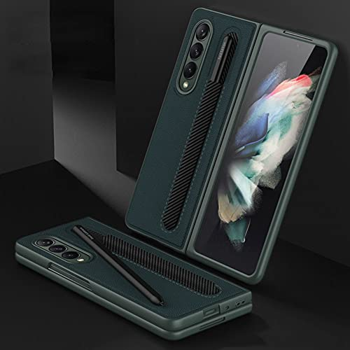 SHIEID Ledertasche für Samsung Galaxy Z Fold 3 5G, Z Fold 3 Hülle Hülle with S Pen Holder, Klappbildschirm Handyhülle für Samsung Z Fold 3 5G-Smaragdgrün