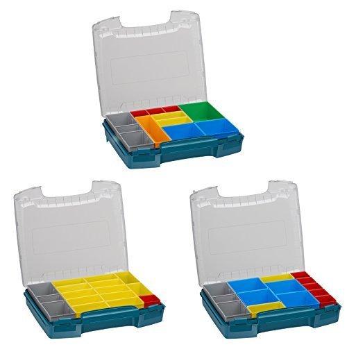 Sortimentskasten transparent mit Klappgriff | i-BOXX 3er Set (grün) mit H3, B3 & C3 Einsätzen | Für i-BOXX RACK & LS-BOXX | Sortierkasten tragbar