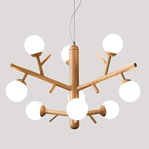 ZMH LED Holz Pendelleuchte Warmweiß Kronleuchter 9-flammig Astgabel Form Höhenverstellbar Wohnzimmerlampe E27 Deckenleuchte Dekorativ für Esszimmer Schlafzimmer Wohnzimmer Kinderzimmer, Birnen inkl.