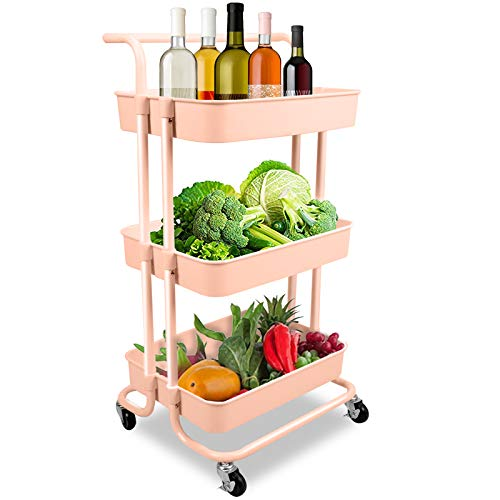Voilamart Pink Kitchen Trolley 3-Tier Utility Rolling Cart, Utility Cart, Kitchen Cart Storage Trolley with 2 Brakes, Easy Assembly, for Kitchen, Bathroom, Laundry Room