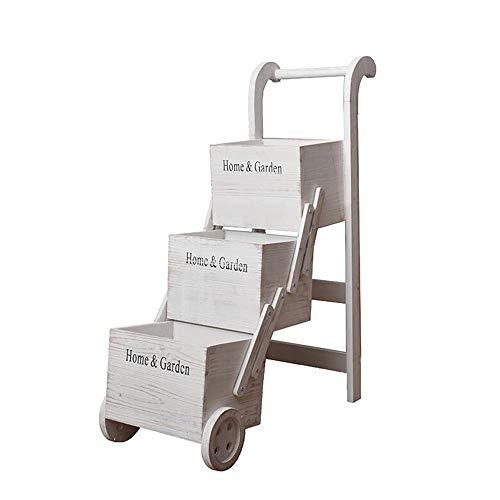 JCNFA Planken Vintage Effen Houten Wiel Frame, Vloerstaande Plant Bloemenstandaard, Shop Raam Decoratie, Ladder Vouwrek, Wit