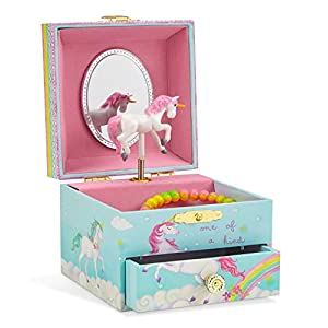 Jewelkeeper Musical Jewelry Box, Unicorn Rainbow Design with Pullout Drawer, The Unicorn Tune