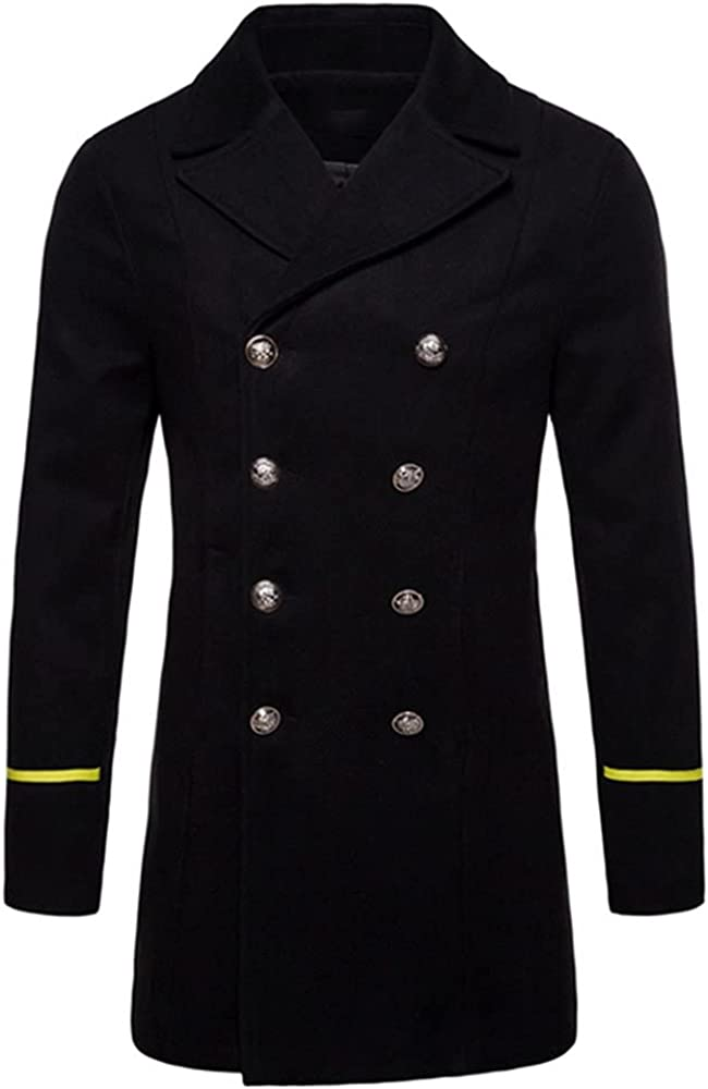 LetsKeep Winter Wool Overcoat Men blends breasted peacoat Mens Autumn trench