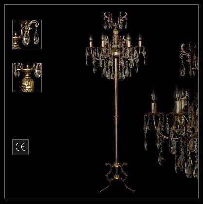 NEUERRAUM Jugendstil Kristall Stehlampe Stehleuchte, Schwere Metall Konstruktion, Echter Kristall Behang. Höhe 167 cm. Abbildung Goldfarben (Silberfarben bestellbar).