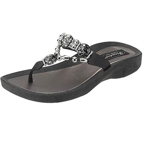 Grandco Women's 25542E Expression Beaded Waterproof Molded Sole Beach Thong Sandals Platform, Black, 5
