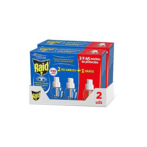 Raid ® Pack de 2+1 Recambios Eléctrico Líquido 45 noches  Pack de 2Uds - Cargadores para aparato enchufe anti mosquitos comunes y tigre Raid Eléctrico Líquido  Hasta 270 noches de protección