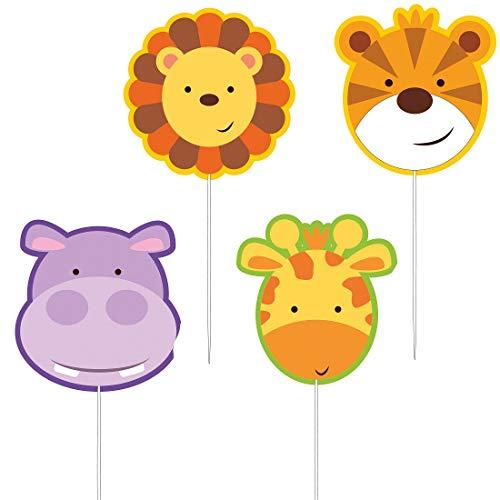 Amakando 4 Dschungelparty Kuchen-Kerzen Urwald-Tiere / 7cm / Jungle World Minikerzen Wildnis als Tortendeko / Bestens geeignet zu Mottoparty & Geburtstagsfeier