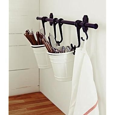 Ikea Steel Kitchen Organizer Set, 22.5-inch Rail, 5 Hooks, Black
