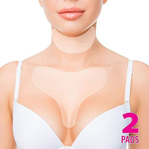 Almohadillas antiarrugas escote,con cuello almohadilla,almohadillas antiarrugas de silicona,reutilizable,para prevenir las arrugas del cuello y escote(Transparente)2 piezas