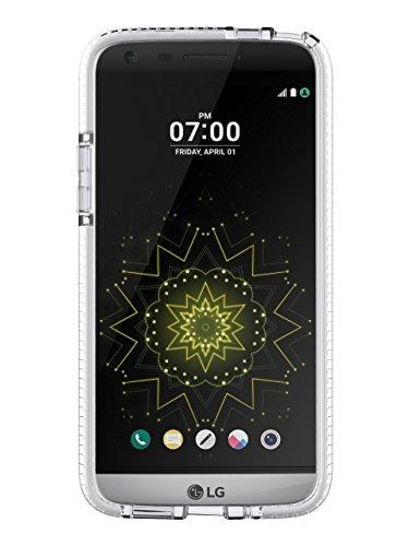 Tech21 Evo Check Schutzhülle Hülle Cover Widerstandsfähig Schlagfest mit FlexShock Technologie Aufprallschutz & Karomuster für LG G5 - Transparent / Weiß