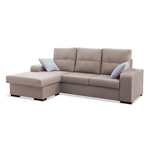 Mueble Sofa ChaiseLongue, MONTADO DE FABRICA, 3 plazas, Color Beige, cheslong Chaise Longue ref-70