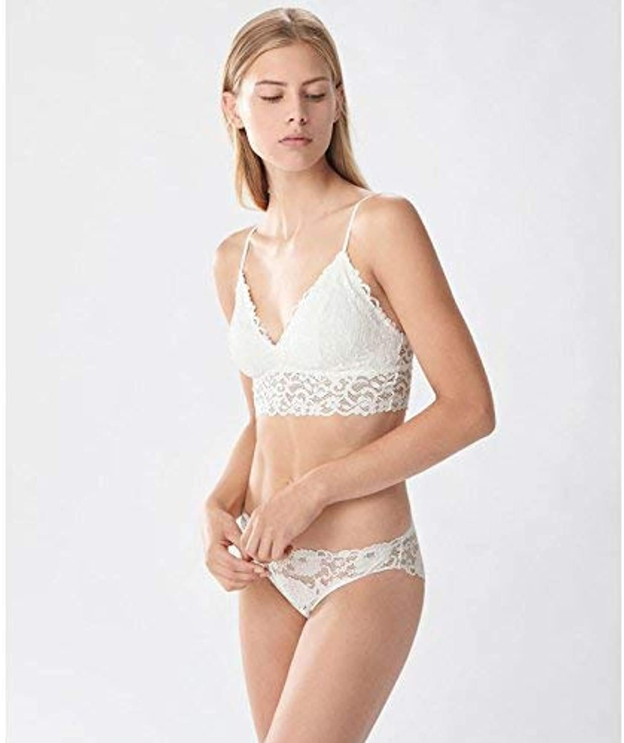 White lace lace Free Fashionable and Comfortable Bra (color   L, Size   White)