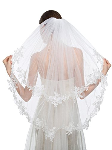 Edith qi Elegant Wedding Veil 2T Two-tier Elbow Veils Lace Applique Edge with Comb