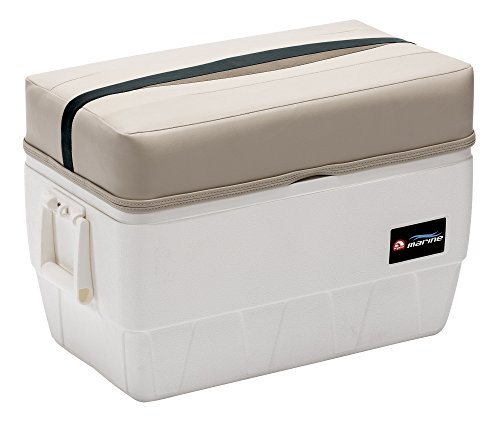 Wise Premier Series 48-Quart Igloo Cooler with Cushion Seat, Platinum/Platinum Punch/Jade / Fawn