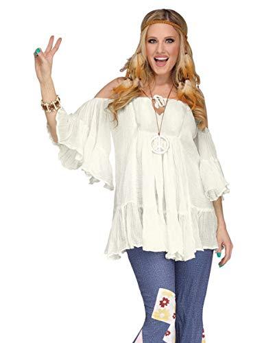 Horror-Shop Naturweiße 60er Jahre Hippie Baumwoll Rüschen-Bluse für Karneval One Size