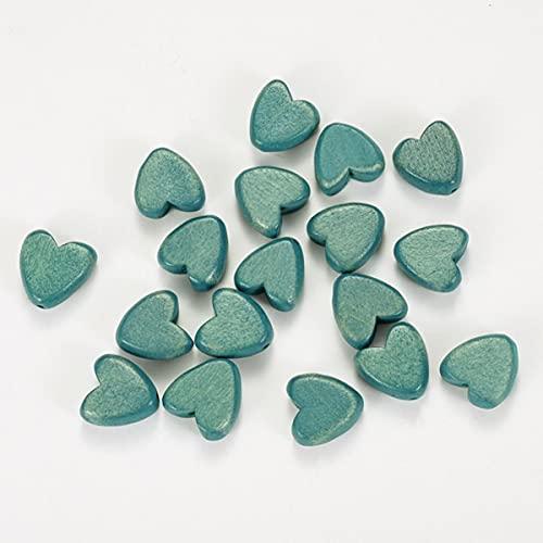 20/30/50 piezas 16 mm cuentas de madera de corazón rojo lindo espaciador suelto cuentas de amor para hacer joyas DIY niños pareja pulsera collar-lago azul, 20 piezas