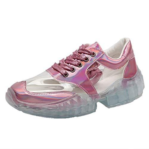 Sneakers Trasparenti per Le Donne retrò degli Anni '90 Lace Up Piattaforma Robusta Moda Scarpe Vulcanizzate Sneaker da Ginnastica Leggera da Passeggio
