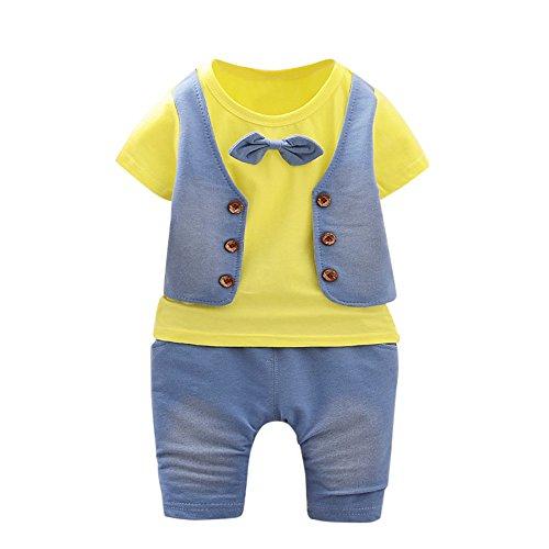 UFODB Baby Kleidung Set, Junge Sommer Gentleman Kids Boys Krawatte Pullover Kurze ärmel T-Shirt Shorts Hosen Sportanzug