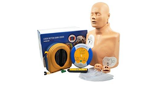 MedX5 (Upgrade 2020) 2in1 Traningsset, Reanimationspuppe + vollautomatischer Trainingsdefibrillator, Übungsdefibrillator PAD 360P, Defibrillator für Trainer, Ausbilder, Schulen