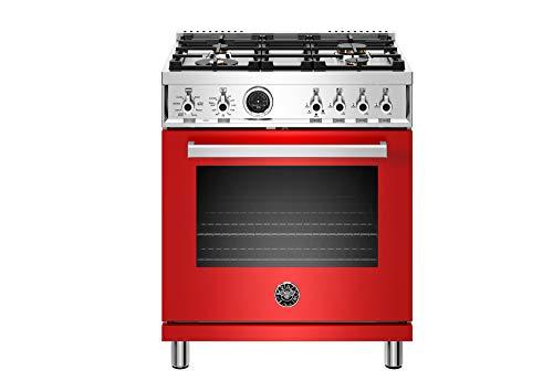 Bertazzoni PROF304DFSROT Professional Series Dual Fuel Range, 30' DF, Red