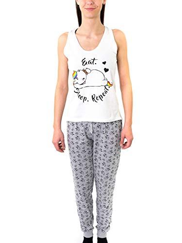 Pummel & Friends - Loungewear Set (weiß/grau) - Pummeleinhorn (Eat, Sleep, Repeat) Größe L