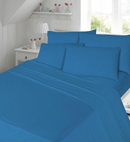 EGYPTO Cotton Flannelette Thermal Winter Duvet Cover Set - Soft Comforter with Pillowcases (Single, Blue)