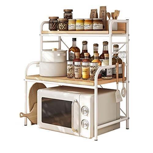 Mueble Microondas Estante del estante del horno de microondas, el estante del soporte del horno de la tostadora, el soporte de la olla de arroz para el organizador de la encimera 2 niveles con 6 ganc