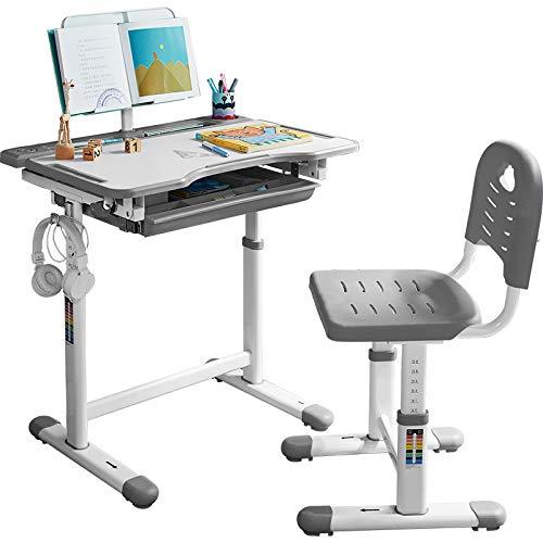 Verxii Home Ergonomic Kids Study Desk and Chair Height Adjustable School Student Study Desk with Tilt Desktop, Book Stand, Cup Holder, Steel Hook, Storage Drawer and Height Adjustable Chair Set