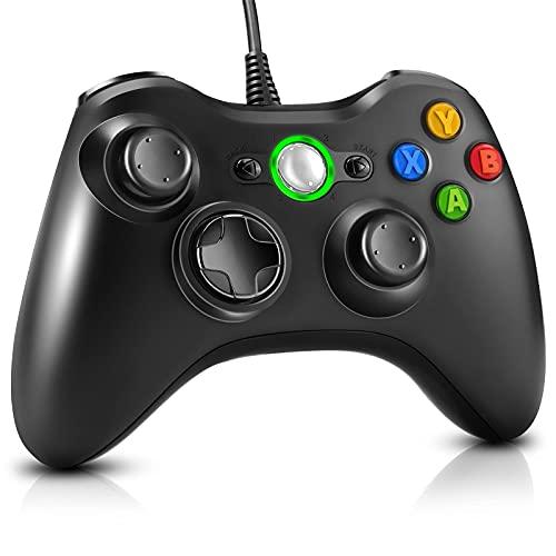 ML S HJDY Kabelgebundener Gamecontroller Mit Audiobuchse Und Vibrationsfunktion Gamepad, Geeignet Für Xbox 360 Und PC Windows 7/8/10,Schwarz