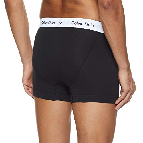 Calvin Klein Underwear Men's Trunks Pack of 3 - Cotton Stretch, Multicolour (Black/White/Grey Heather), Small