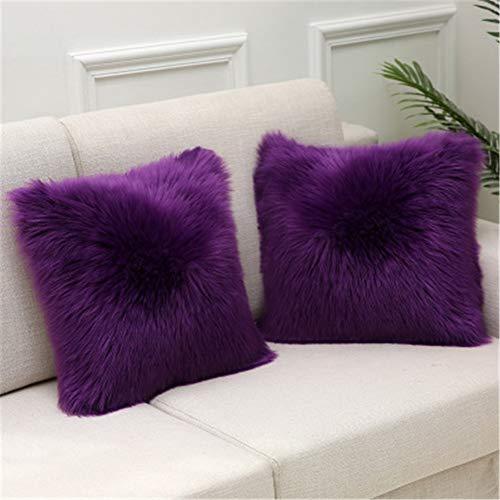 LOYYE 2 pcs Fundas de Cojín Decorativos Violeta Funda de Almohada de Piel Sintética Cubierta para Cojines Sofá Sala de Estar Dormitorio Decorativo Throw Pillow Case U163 Pillowcase,40x40cm