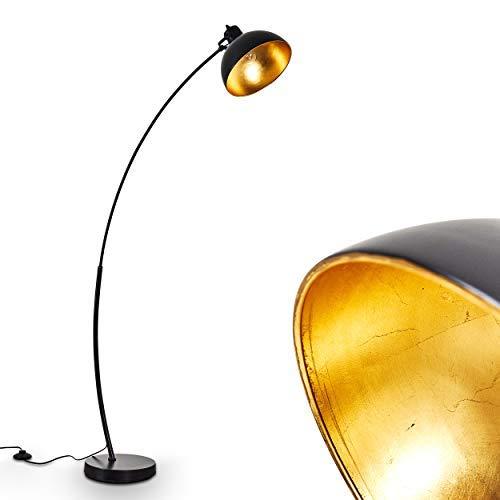 Staande lamp Parola, vintage vloerlamp met lampenkap in goud/zwart metaal, E27 fitting, max. 60 Watt, booglamp in retro uitvoering, met voetschakelaar op de kabel, ook geschikt voor LED-lampen